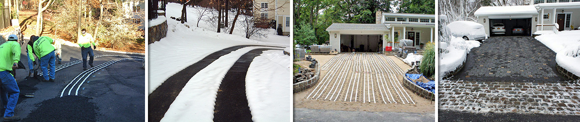 Installation of heated driveways and results after snowstorm.